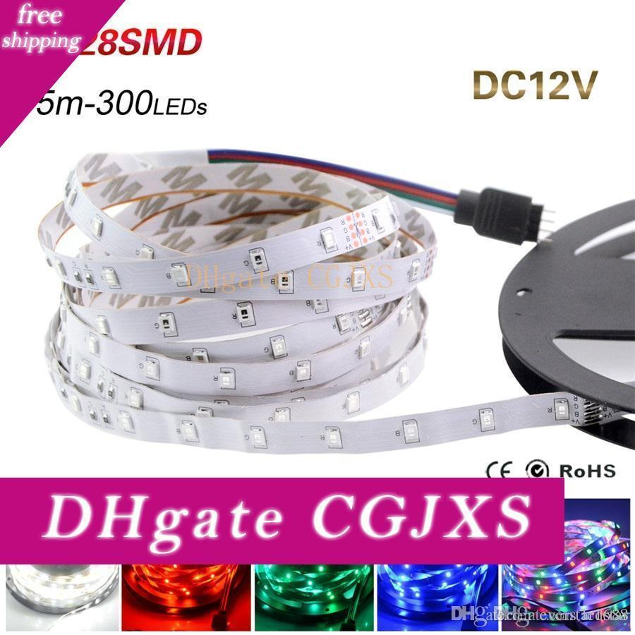 Led Strip Light 3528 Smd 5m 300leds 12v Flexible Led Ribbon Diode Tape Rgb &Single Colors Ledstrip High Quality Fita Led