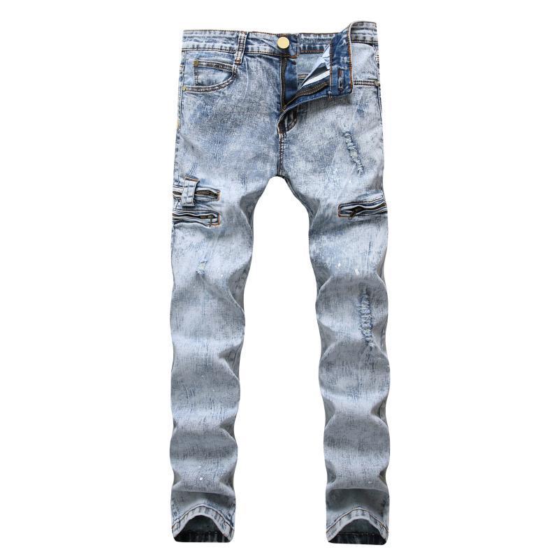 Erkekler Hip Hop Slim Fit Delikler Punk Denim Jeans Erkek Sıkıntılı Stretch Dekorasyon Çoklu zip Jeans Kar Yıkama Pamuk Pantolon Ripped