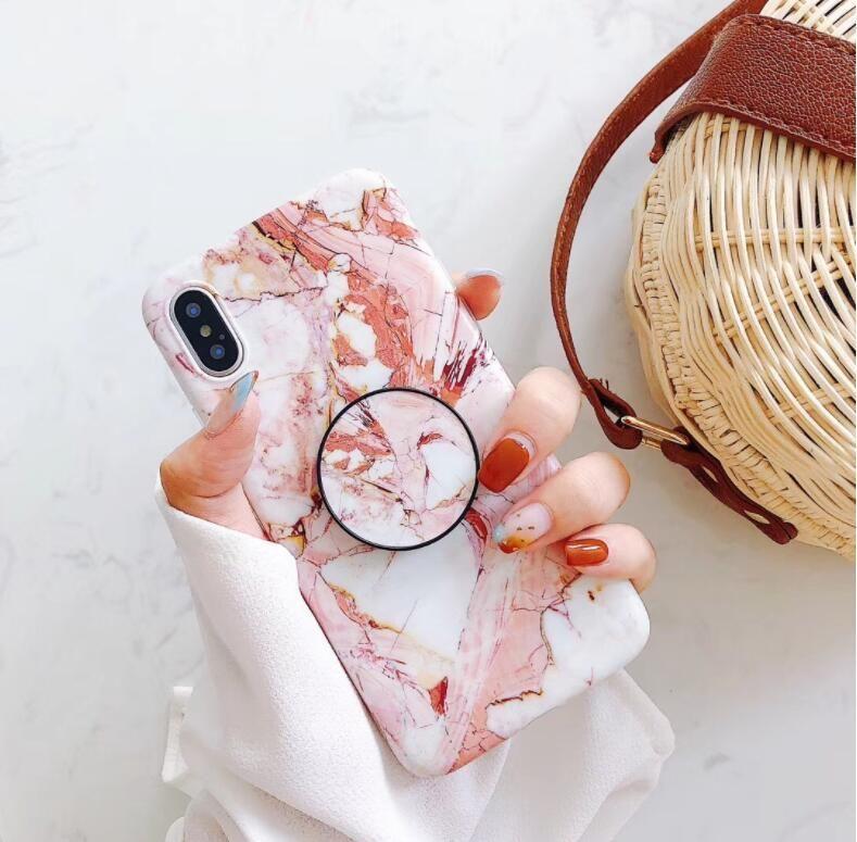 cgjxs Moda Granito Mármol para Iphone X Xr Xs Max 8 Plus 7plus 6s más caliente Holder TPU Piedra caja del teléfono con el anillo