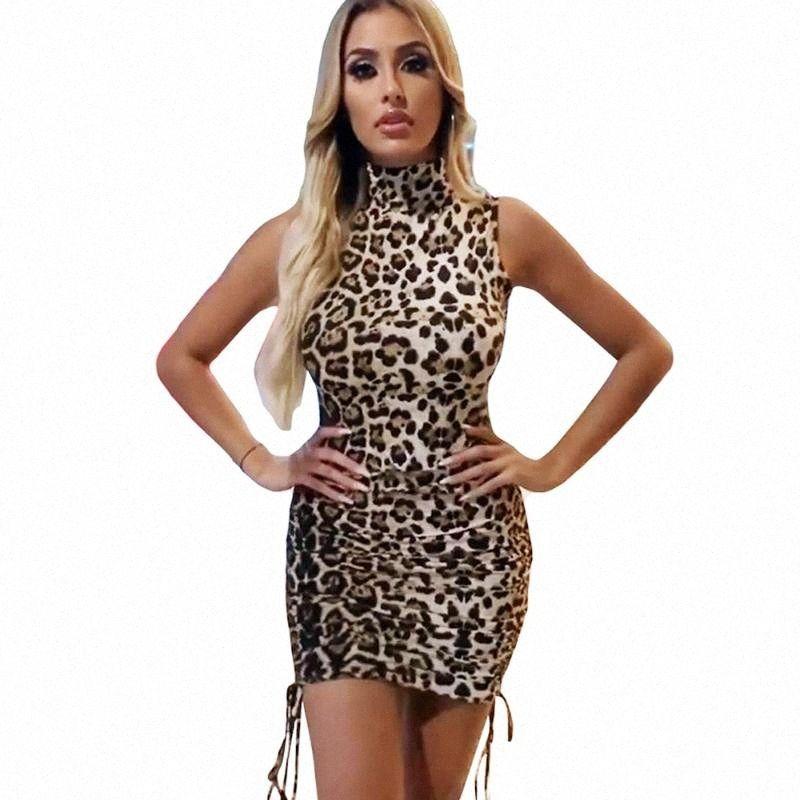 Sexy Ladies Leopard Vestido Curto Colarinho alto mangas da cópia da chita Club Party Bodycon Magro Flapper Noite Hot Vender Mini Vestidos IRwx #