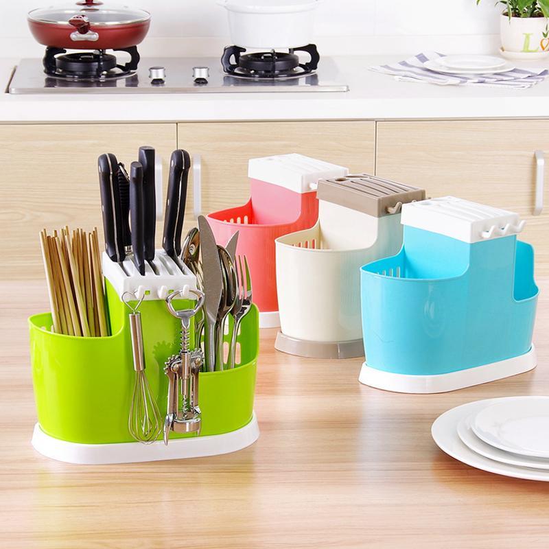 1 Stück Multifunktions-Kunststoff Regal Dish Essstäbchen Besteck Storage Rack ablassen Halter-Sieb-Ständer Kreative Küche-Werkzeug