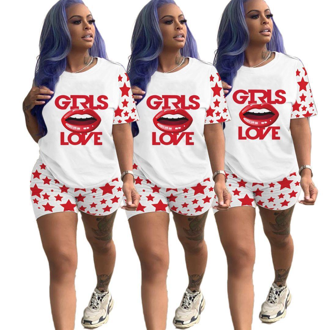 Summer Casual Женщины костюмы Мода Губы Pattern Короткие рукава 2 Piece Set New Женщины Двухкусочный Эпикировка