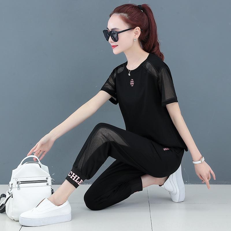 Спортивный костюм женских одежды лето 2020 новая летнее свободный корейский стиль мода старение вскользь вскользь износ износа два частей набора