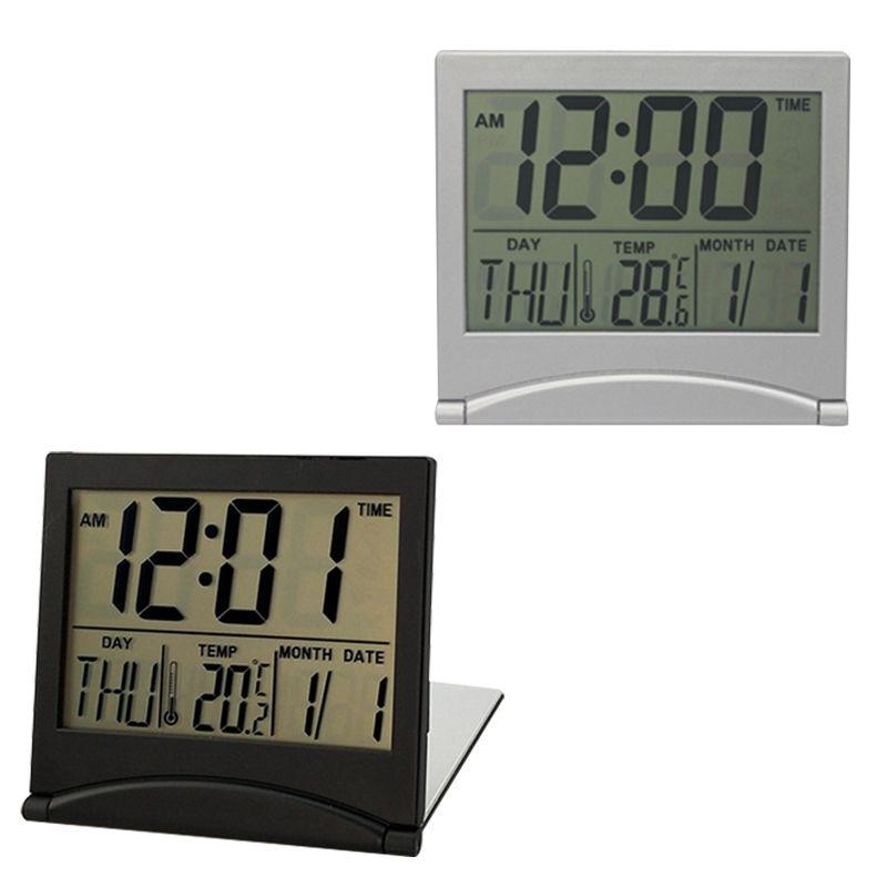 Digital Calendar Folding LCD Digital Alarm Clock Desk Table Weather Desk Temperature Ectronic Household Mini Clock
