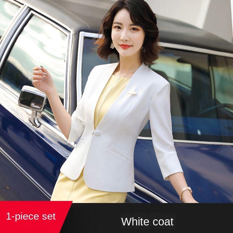 JhsAu 2020 primavera y el verano nueva pequeña temperamento negocio de las mujeres 2020 primavera y el verano del todo-fósforo traje formal de cuello blanco joyero urbana