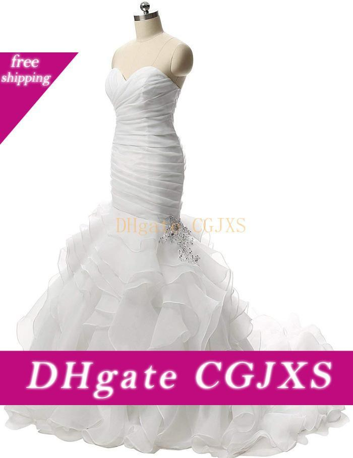 Vintage Ruffled Organza Sereia vestidos de casamento 2019 pescoço namorada frisada Lace Applique Corset nupcial Vestidos Custom Made