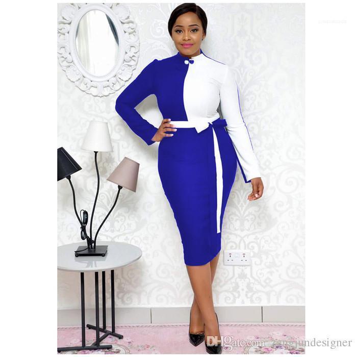 اللون عارضة نمط مصمم أنثى الملابس أزياء حزام ملابس الموضة النسائية فساتين طاقم الرقبة كم طويل الصلبة