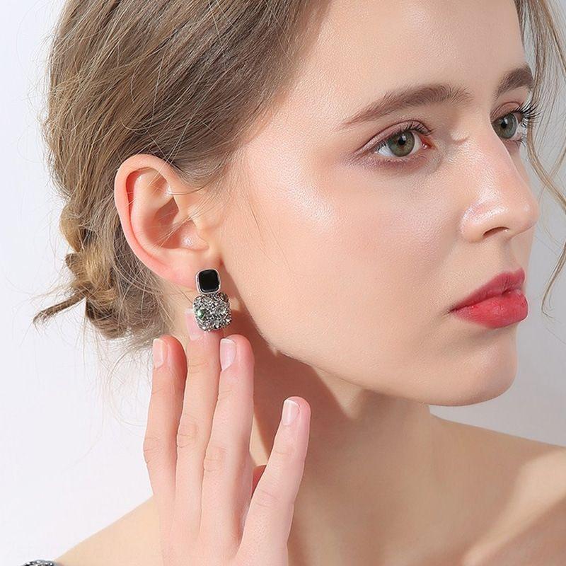 élégantes boucles d'oreilles diamant personnalité noire diamant pleine niche aiguille argent S925 femmes élégantes boucles d'oreilles coréenne tout match et h7MMH