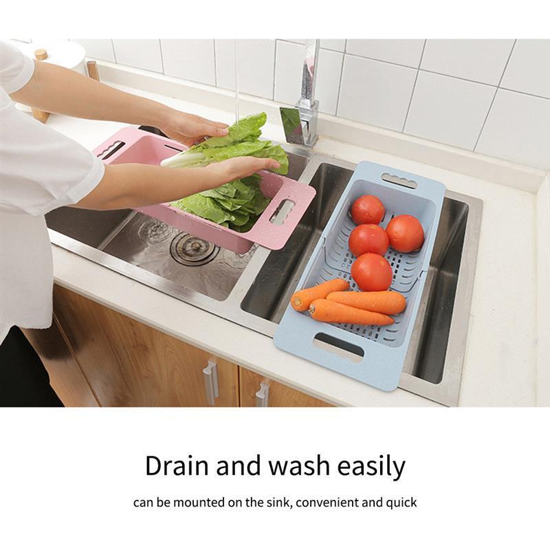 Fruta colgante y filtro vegetal Bandeja de almacenamiento cesta ajustable hueco grande desagüe de la cocina cesta