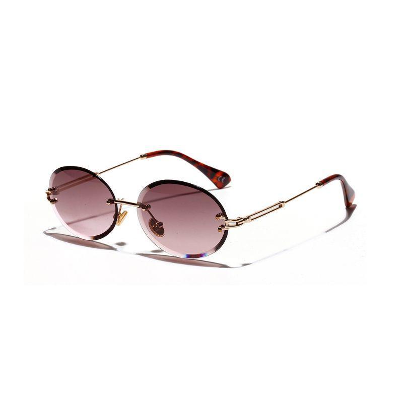 1pair Elmas Kesim Retro Oval Güneş Kadın Çerçevesiz gözlükler Dekor Hediyeleri