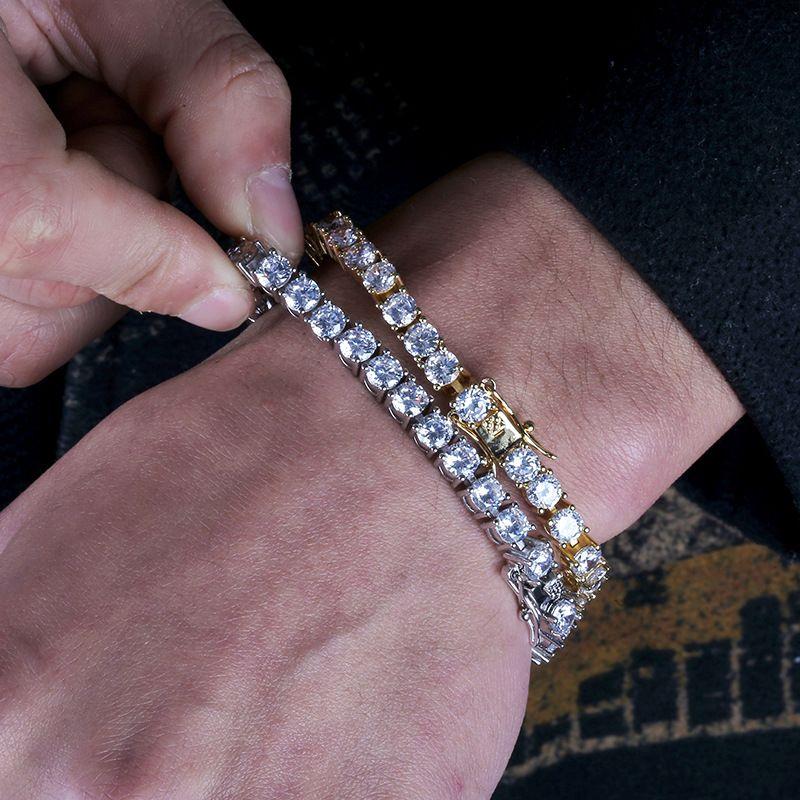 Mens Rose Gold Tennis braccialetti d'oro ghiacciato fuori catena del braccialetto di Hip Hop monili dei braccialetti 5 millimetri
