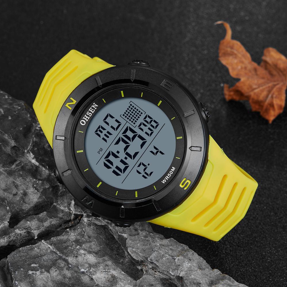 Digital LED Men Sport Watch Stopwatch OHSEN 50M Diving outdoor Militar man Wristwatch Yellow Fashion bracelet Watch montre homme
