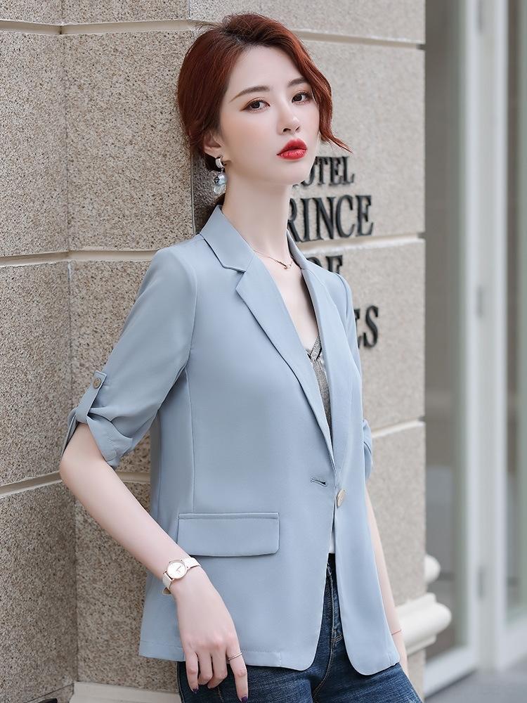 KeLS6 Светские черная корейский обрезан рукав маленьких летний тонкий белого новый социальный Socialite костюм случайного стиль шифона элегантного костюм