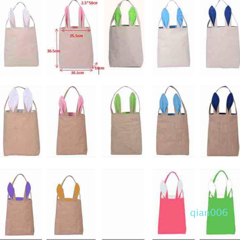 Easter Bunny Ears Bags Canvas Egg Packing Handbag Bags For Children Adult Festival Party Christmas Halloween Supplies Gifts WX-B31
