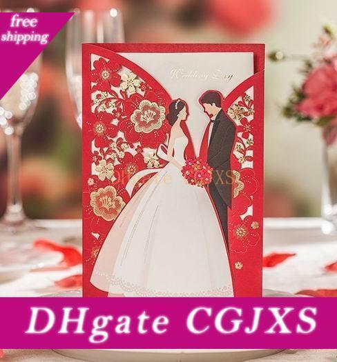 Nozze Inviti stile dell'Europa Invitaitons carta carte Felice sposa sposo Piegato scheda con la busta ed Seal all'ingrosso