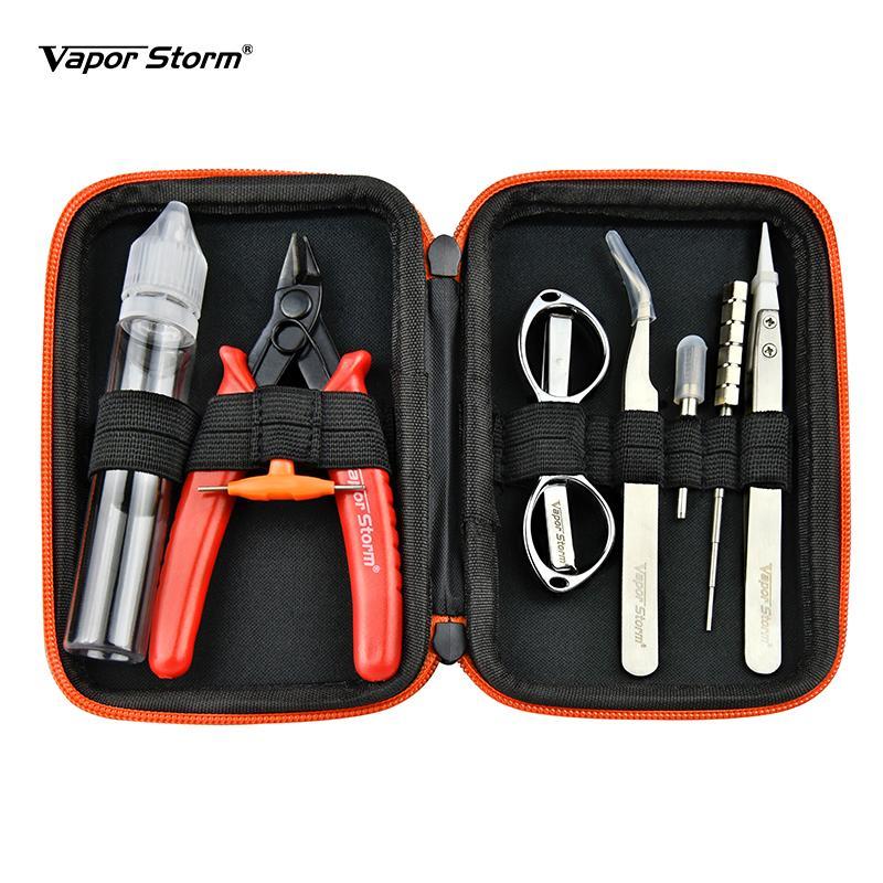 Autentica Vapor Tempesta V1 Tool Set Kit per Vape fai da te RDA RBA costruzione Coil Jig cacciavite Forbici Tweezer Brush Carry Bag DHL libero