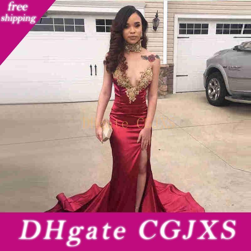 Longos Prom Dresses 2019 Sexy alta Slit Querida Magro elegante da sereia Africano Burgundy vestido de cetim Prom