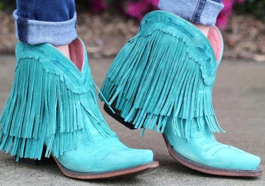 2020 Mujeres mitad de la pantorrilla talón bajo de Bohemia de la borla de la motocicleta botas de flecos vaquero Zapatos Otoño Las mujeres Botas Botas Mujer