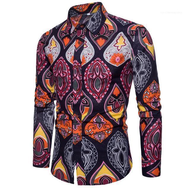 Folk homens de etnia Shirts Flores Mens Casual camisas havaianas mangas compridas homem camisetas Primavera Outono Fashion Trend