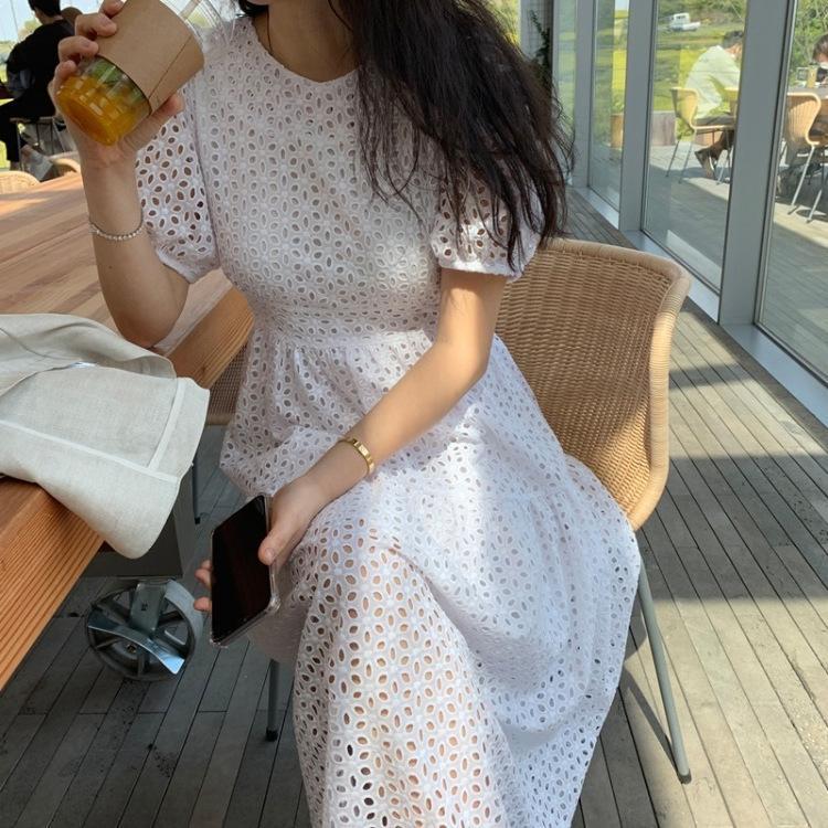 CVyJu coréenne Dongdaemun longue robe d'été jupe Jacquard nouveau élégante minceur taille creuse longue 2020 robe jacquard