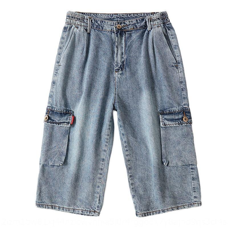 VhWYT Kurzschlusshosen Größe und Capri-Hosen Herren-Sommer plus Fett weiteten sich gerade Shorts Denim dnuoQ helle Farbe Große fette Mann Loch mult abgeschnitten