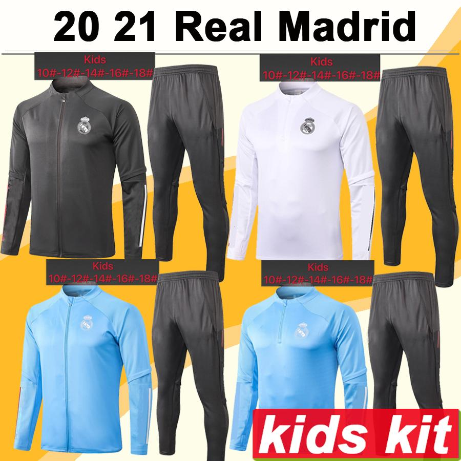 20 21 Echte Madridjacke Kinder Kit Fußball-Trikots Neue Hazard Sergio Ramos Benzema Trainingsanzug Kinderanzug Training Tragen Fussball Hemden Top
