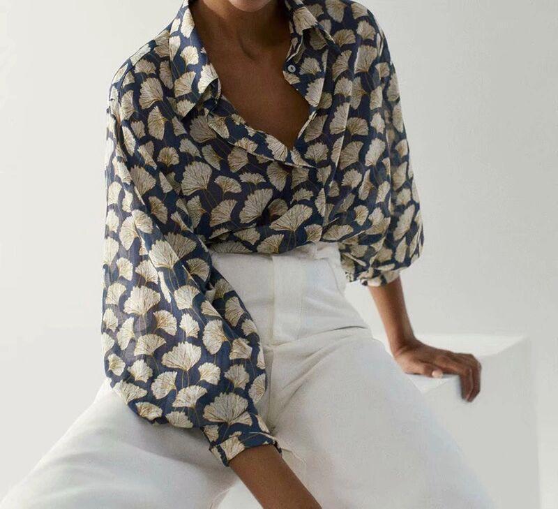 2020 Withered Осень Блуза Женщины Англия Стиль Мода Элегантный лист Печать Сыпучие Шелковый Сыпучие Blusas Mujer De Moda рубашка Tops