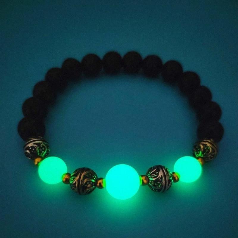 Mode élastique cordes lumineux Perles Bracelet lumineux Pierre Lava naturel Fluorescence Bracelet phosphorescent pour Hommes Femmes d5V2 #