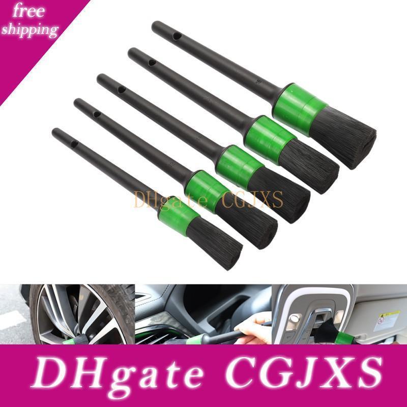 5 adet Araç Temizleme Aracı Takımı Yumuşak Kıl Fırça Temizleme Fırçası Seti İçin İç Kontrol Paneli Jant Jantlar Yeşil Araba Temizleyici Yıkama