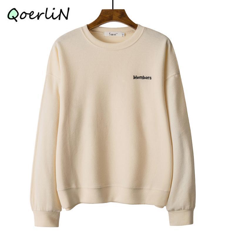 Женские толстовки для толстовок Harajuku осень пуловеры женские писем вышитые свободные корейские вытягивает уличную одежду с длинным рукавом плюс размер