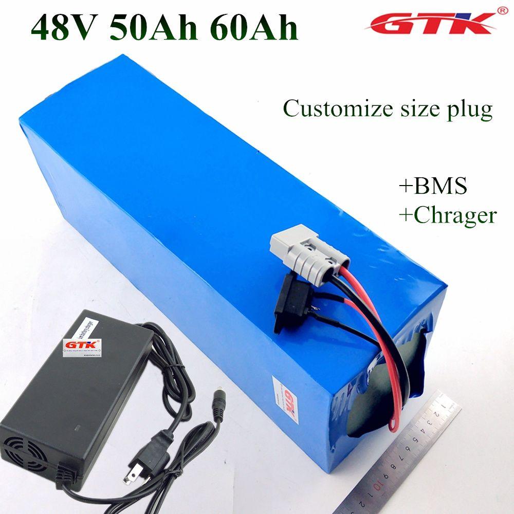 Vélo électrique 48V 60Ah 50Ah batterie au lithium pour 4000W 5000W 100A BMS E-Bike 48v 52v Livraison gratuite + 10A Chargeur