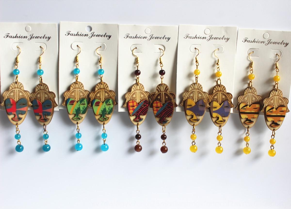rlLDs nuovo modo di legno stampato e orecchini serie ritratto capo delle donne orecchini popolari del tutto-fiammifero accessori