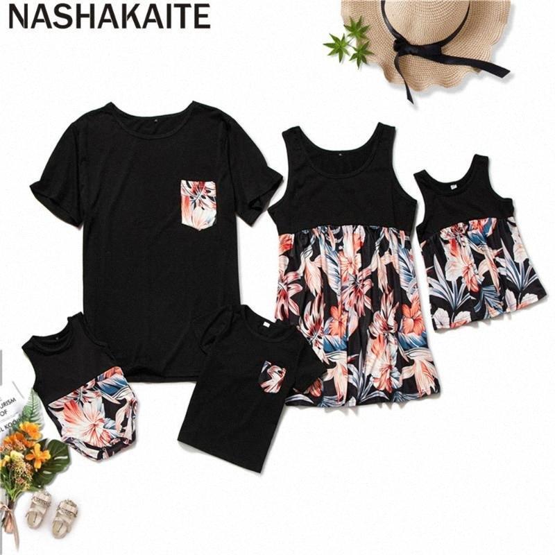 NASHAKAITE familia del verano configuración uniforme de camiseta remiendo Impreso superior para Mom Daughter papá Hijo Romper bebé Mamá y yo ropa Matchin w6H7 #