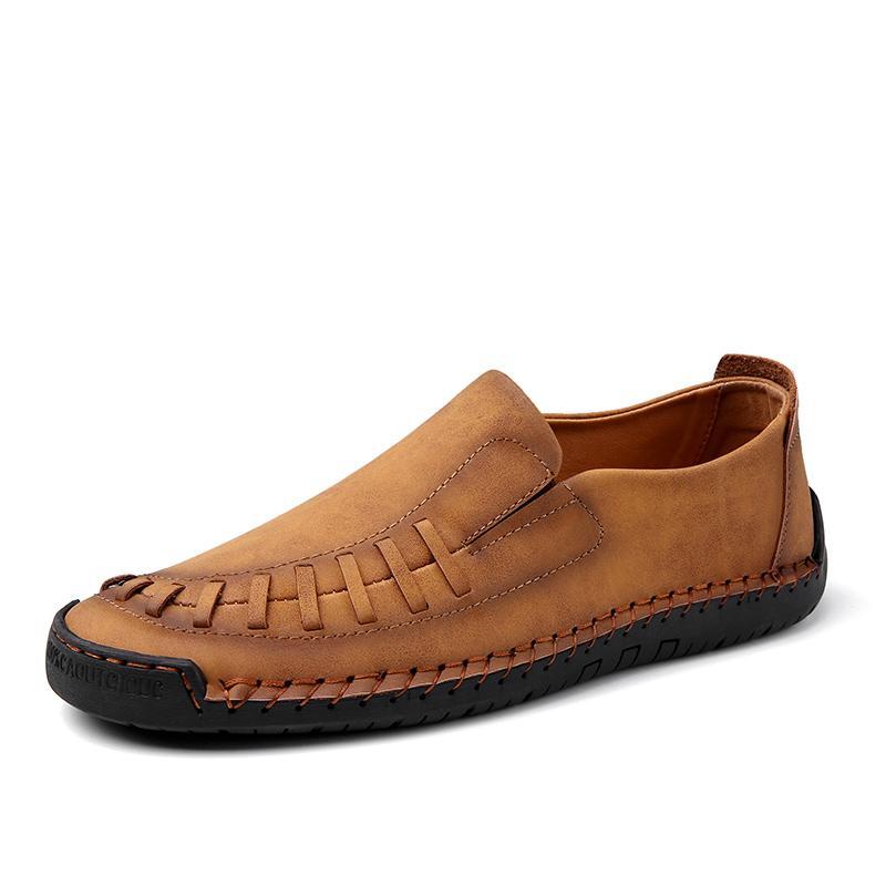 Handgemachte flache faule Turnschuhe Freizeit Anti-Rutsch-Loafers Wandern Reisen Schuhe vier Jahreszeiten echtes Leder Soft-Freizeitschuhe für Männer
