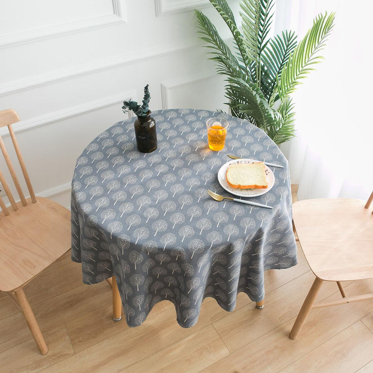 Grey Tree Printed Round Table Cloth Cotton Linen Fabric Tablecloth Table Cover Wedding Party Decoration Plastic Round Tablecloths 120 Inch Round Tablecloth From Tangshanxiexin 8 05 Dhgate Com