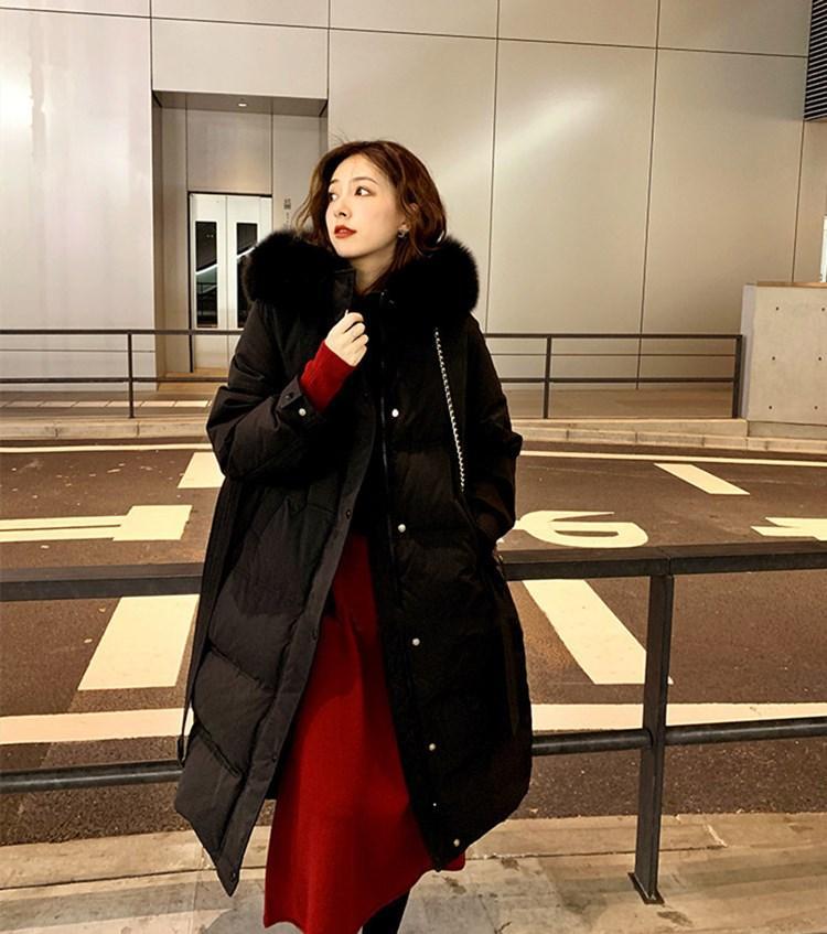 Caliente-venta de las señoras de lujo diseñador por la chaqueta 2020 Europa América del nuevo largo sobre la rodilla abrigos mujer cinturón de piel de zorro cuello de la chaqueta gruesa de pan