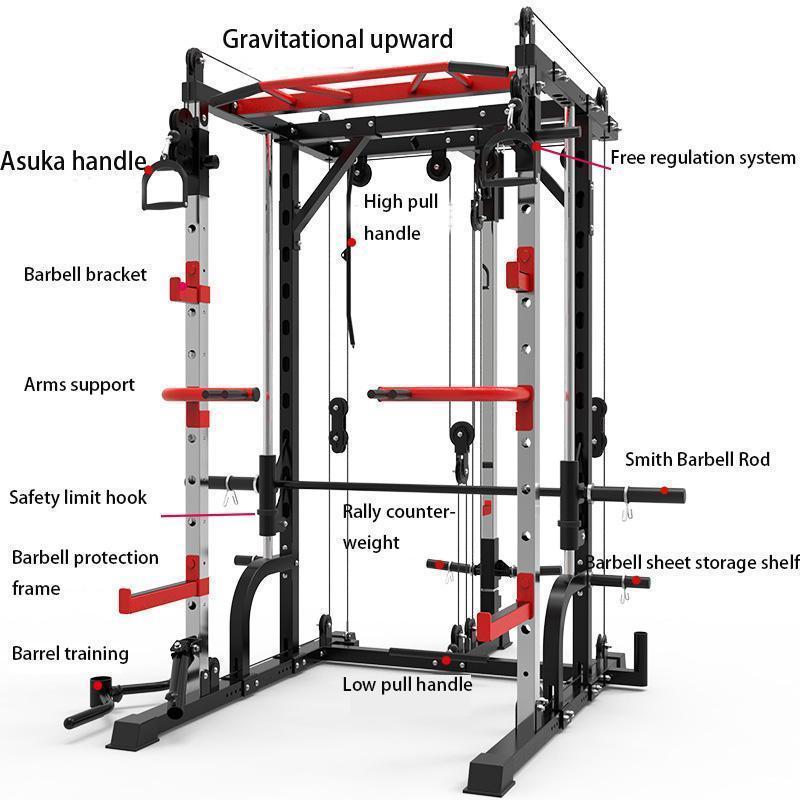 Alta Qualidade New Smith Machine Steel Squat Cremalheira Quadro de Gantry Fitness Home Abrangente Treinamento Dispositivo Grátis Squat Bancão Pressione Frame.1