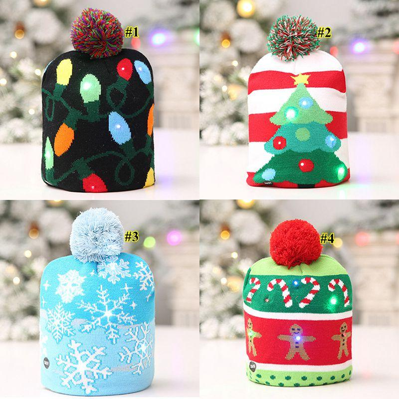 4 Styles LED Light Knitted Christmas Hat Unisex Adults Kids New Year Xmas Luminous Flashing Knitting Crochet Hat Party Favor OWD737