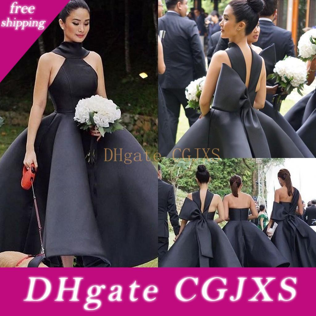 2019 New Ball Gown Black Bridesmaids Dresses Ankle Length Sleeveless Big Bow Satin Garden Short Wedding Guest Gowns Customized Cheap