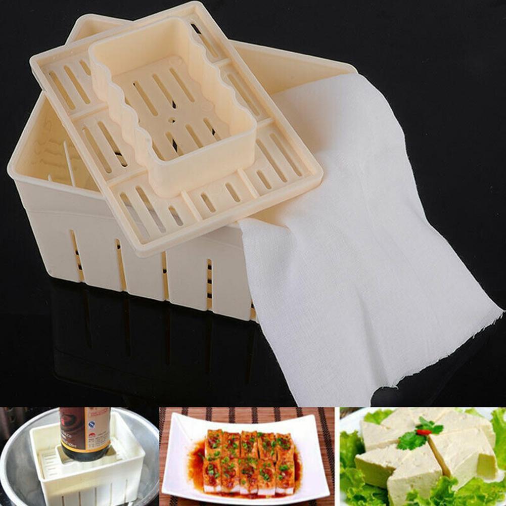 1pc maison bricolage en plastique Tofu Maker moule Dossier de presse Tofu Making Machine Set moule de pressage de soja au fromage en tissu Cuisine