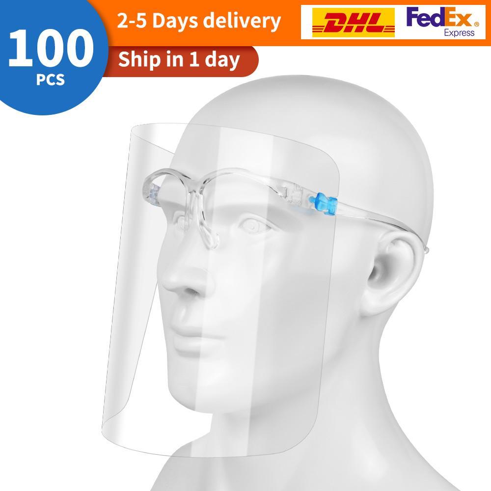 100PCS / 많은 풀 페이스 쉴드 안티 - 안개 보호 마스크 HD 투명 키즈 어린이 성인 풀 페이스 오일 - 스플래쉬 증명 먼지 보호