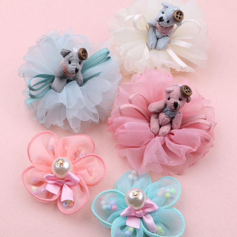 p4ZBh DIY handmade material cartoon bear simulation flower girl spring hair hairpin hair band Handmade DIY accessories making accessories