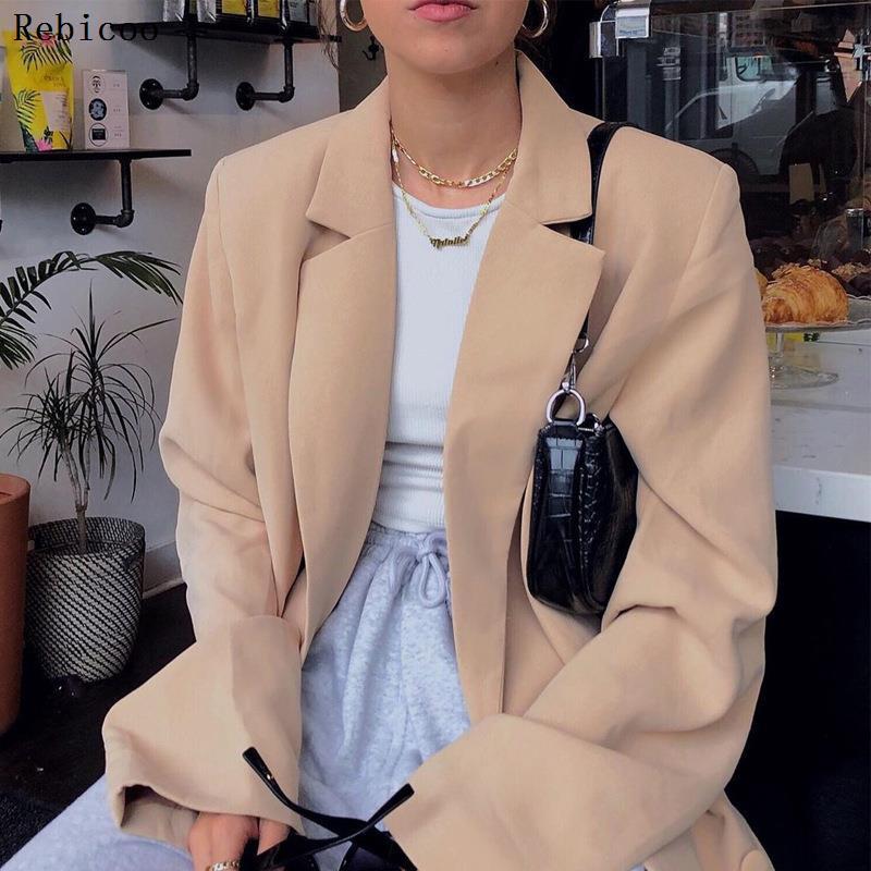 Collar Rebicoo diseñador Blazer Mujeres Botones doble de pecho botones de metal Blazer desgaste externo