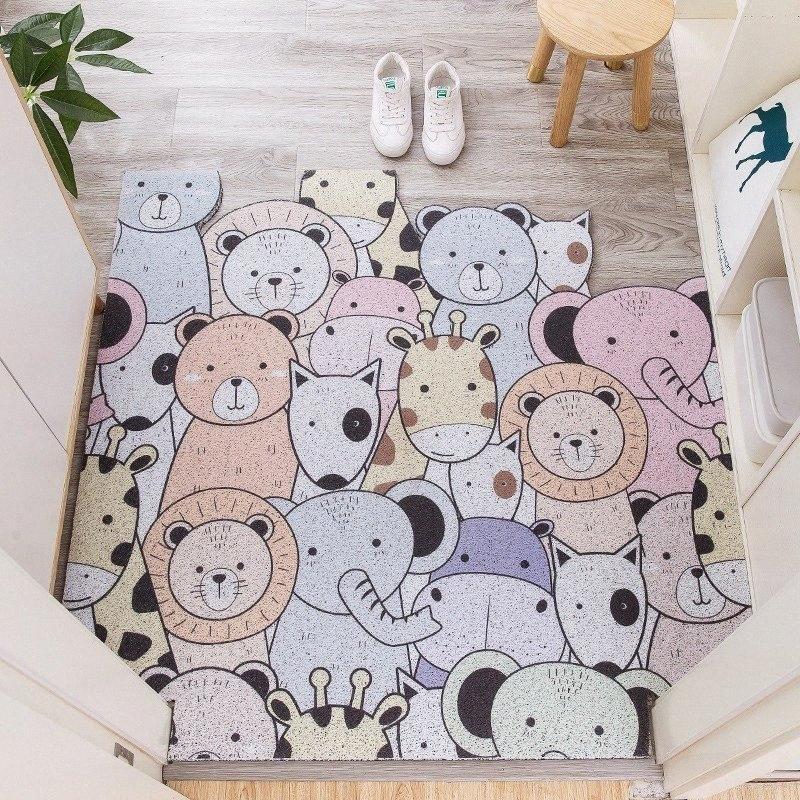 PVC antivegetativa Zerbino ins casa bagno tappetino antiscivolo può tagliare cartone animato piedi soggiorno tappeto pavimento della cucina tappeto T3Pu #