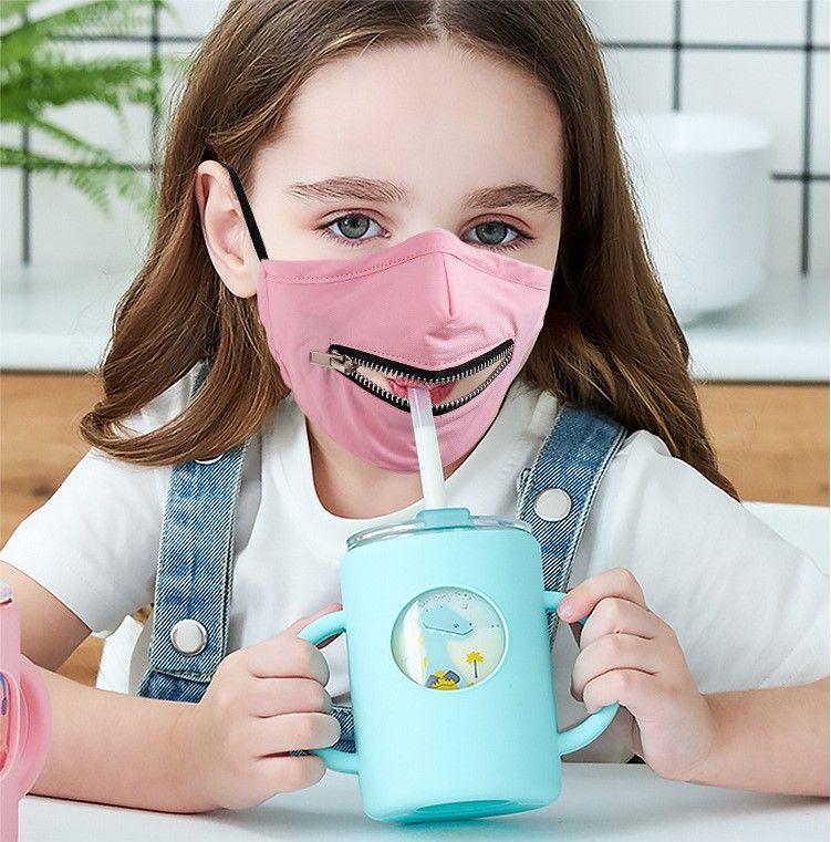 ABD STOK Koruyucu Çocuk Fermuar Yüz Yıkanabilir Yeniden kullanılabilir Moda Pamuk Yüz Maskeleri İçki Kolay Maske