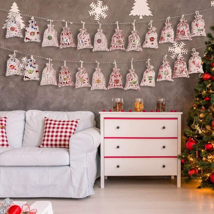 горячее дерево висит небольшого тканевого мешок Рождество мешка Наступление календаря подарок мешок рождественских украшения любимов дети T2I51311