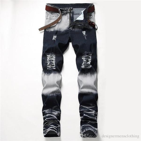 Buracos estiramento longa dos homens Jeans regular Mid cintura reta calças dos homens Moda masculina Vestuário Distrressed Azul Branco