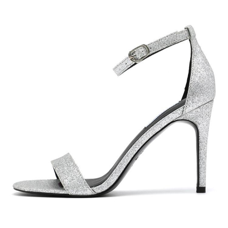 Seksi Kadınlar Yüksek Topuk yumuşak ipekler Gümüş siyah kırmızı Sandalet Toka Kayış Roma Shoes'un Stilettos burnu Düğün Gelinlik Pompa