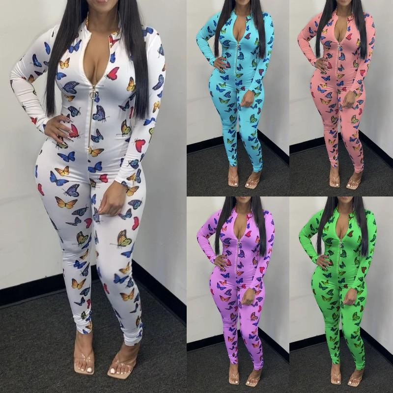 Womens Designer Jumpsuits Long Sleeve Zipper Butterfly Print Stacked Pants Skinney Rompers Fashion Casual Female Clothing