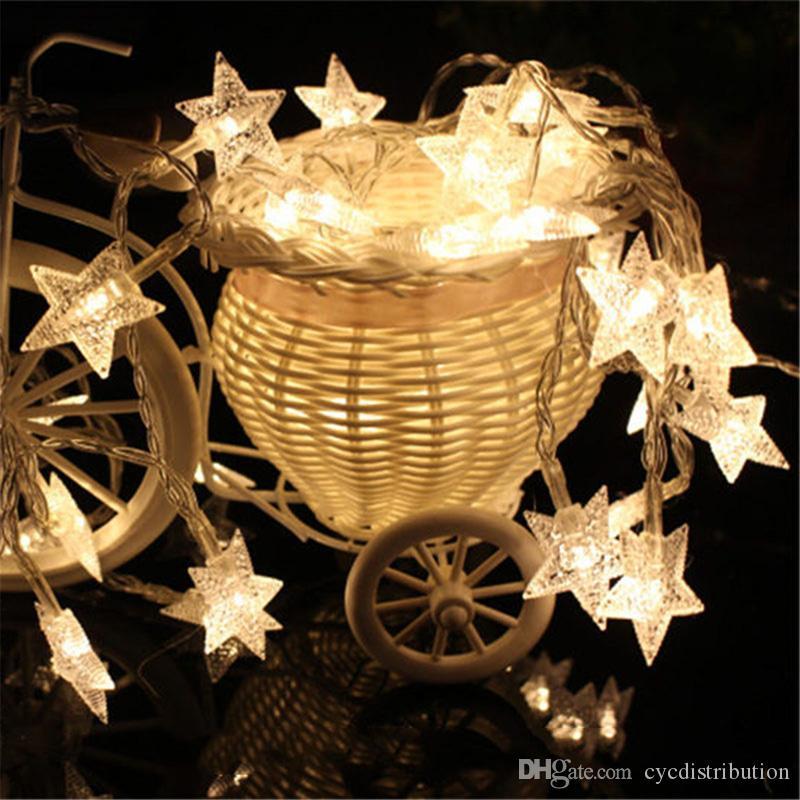 Luci a LED decorazione LED della stella di rame Fili di LED delle luci leggiadramente di Natale decorazioni di nozze batteria Operate scintillio si illumina